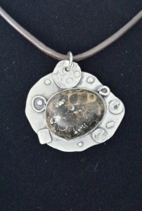 Sterling abstract design pendant with petosky stone - SOLD