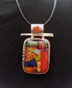 Sterling pendant with dichroic glass mosaic and mexican fire opal - SOLD