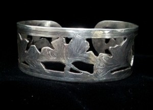 Sterling cuff bracelet with pierced and acid etched ginkgo leaf design - $199