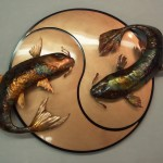 Yin yang koi fish wall sculpture - private collection