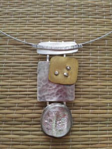 Sterling & brass pendant with dichroic glass - SOLD