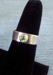 Sterling pinky ring with 3mm peridot - Sizes 4-6 $45
