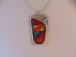 Sterling pendant with dichroic glass & blue topaz - SOLD