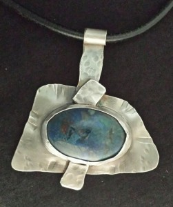sterling pendant with dyed, stabilized turquoise - SOLD