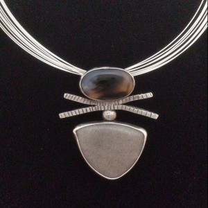 Sterling pendant with agates - $210 / pendant only $190